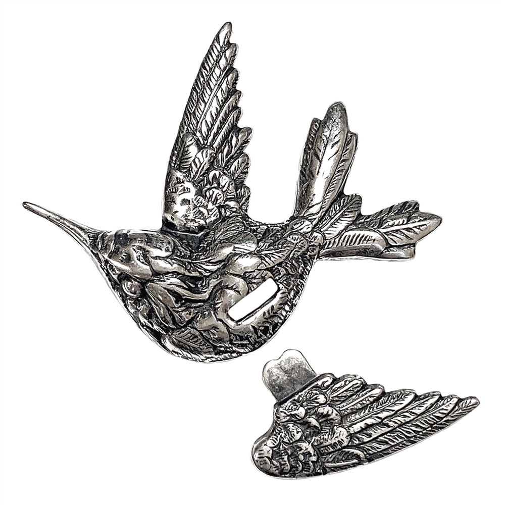 Bird and Wing Stamping, Silverware Silverplate, Left Facing, 34 x 42mm, Tabbed, Attachable Wing