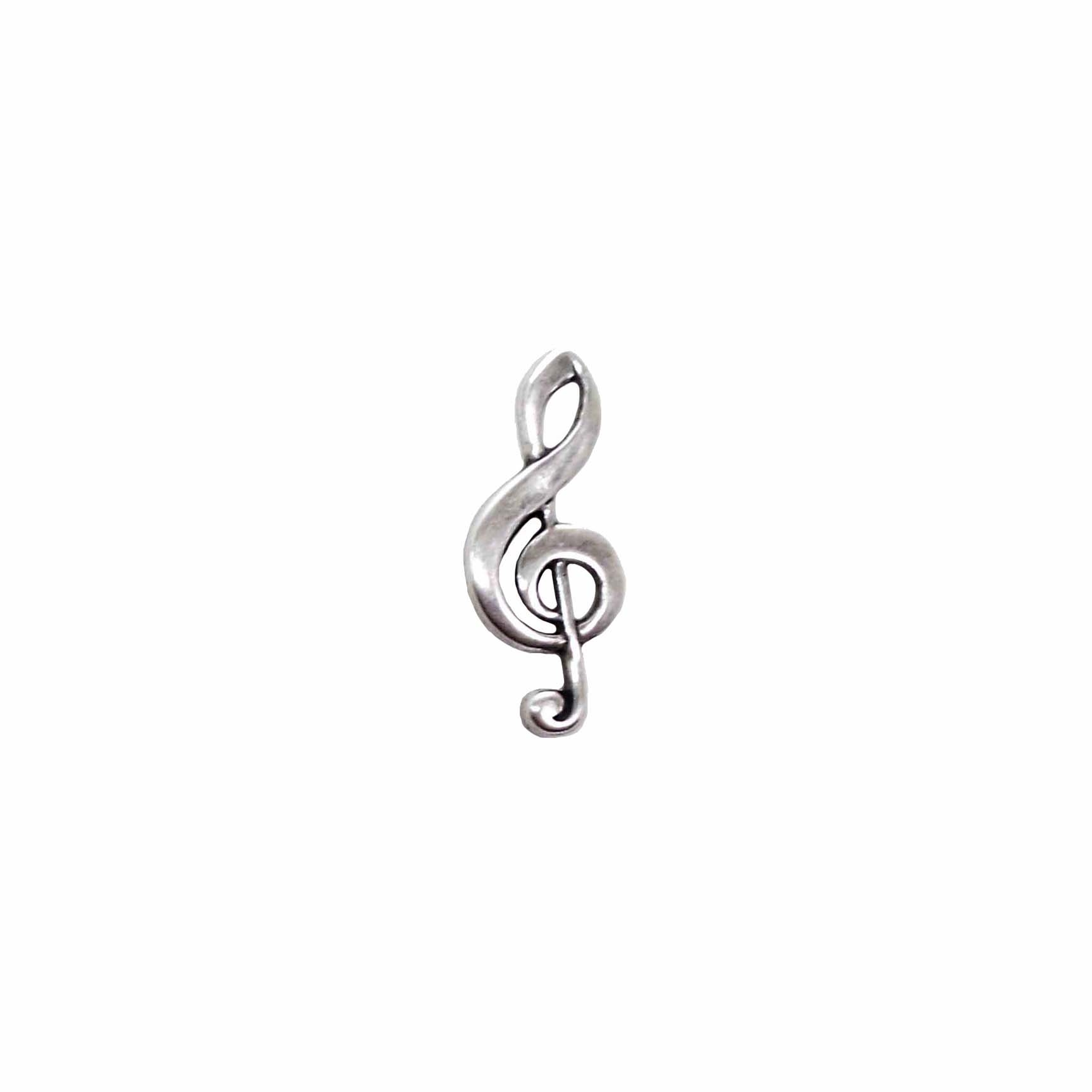 Brass Charms, Treble Clef, Music Charm, Silverware Silverplate, US Made, Nickel Free, 31 x 13mm