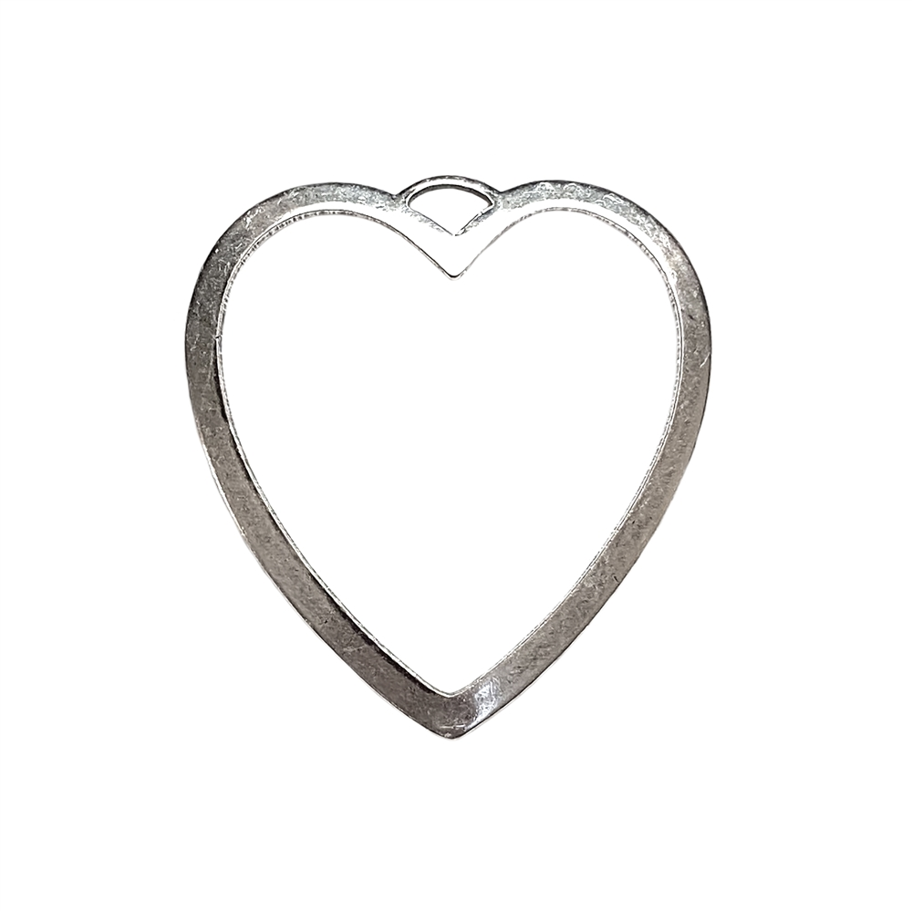 heart-shaped bezel pendant, silverware silverplate, backless bezel, heart, backless heart, heart pendant, heart bezel, jewelry making, jewelry supplies, B'sue Boutiques, brass ox bezel, 31x29mm, silver heart, antique silver, silver, 02282