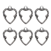 Victorian backless heart charms, silverware silverplate, antique silver, set of 6, brass stampings, silver hearts, jewelry making, jewelry supplies, vintage supplies, nickel-free, B'sue Boutiques, heart pendants, 18x14mm, charms, heart bezels, 02288