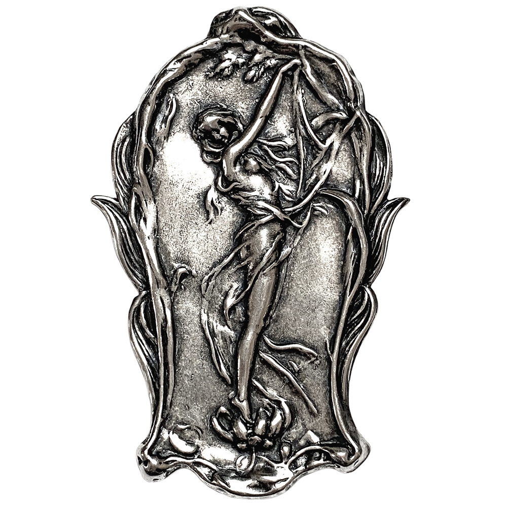 dancing lady stamping, lady dancing, silverware silverplate, antique silver, victorian, lady, brass stamping, 60x42mm, dancing lady, US-made, nickel-free, floral, stamping, lady stamping, jewelry making, jewelry supplies, vintage supplies, jewelry, 02289