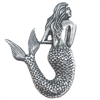 Brass Stamping, Mermaid, Silverware Silverplate, Nickel Free Finish, USA, 54 x 40mm