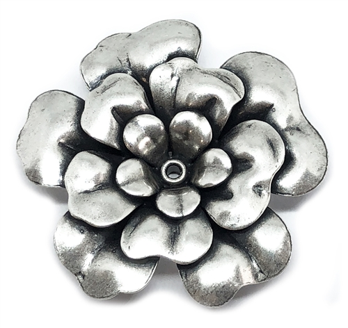 big tea rose flower, antique silver, rose, tea rose, silverware silverplate, silver, flower, tea rose flower, US made, nickel free, riveted rose, flattened, brass base, brass, 40mm, three layered, jewelry making, vintage supplies, B'sue Boutiques, 02464