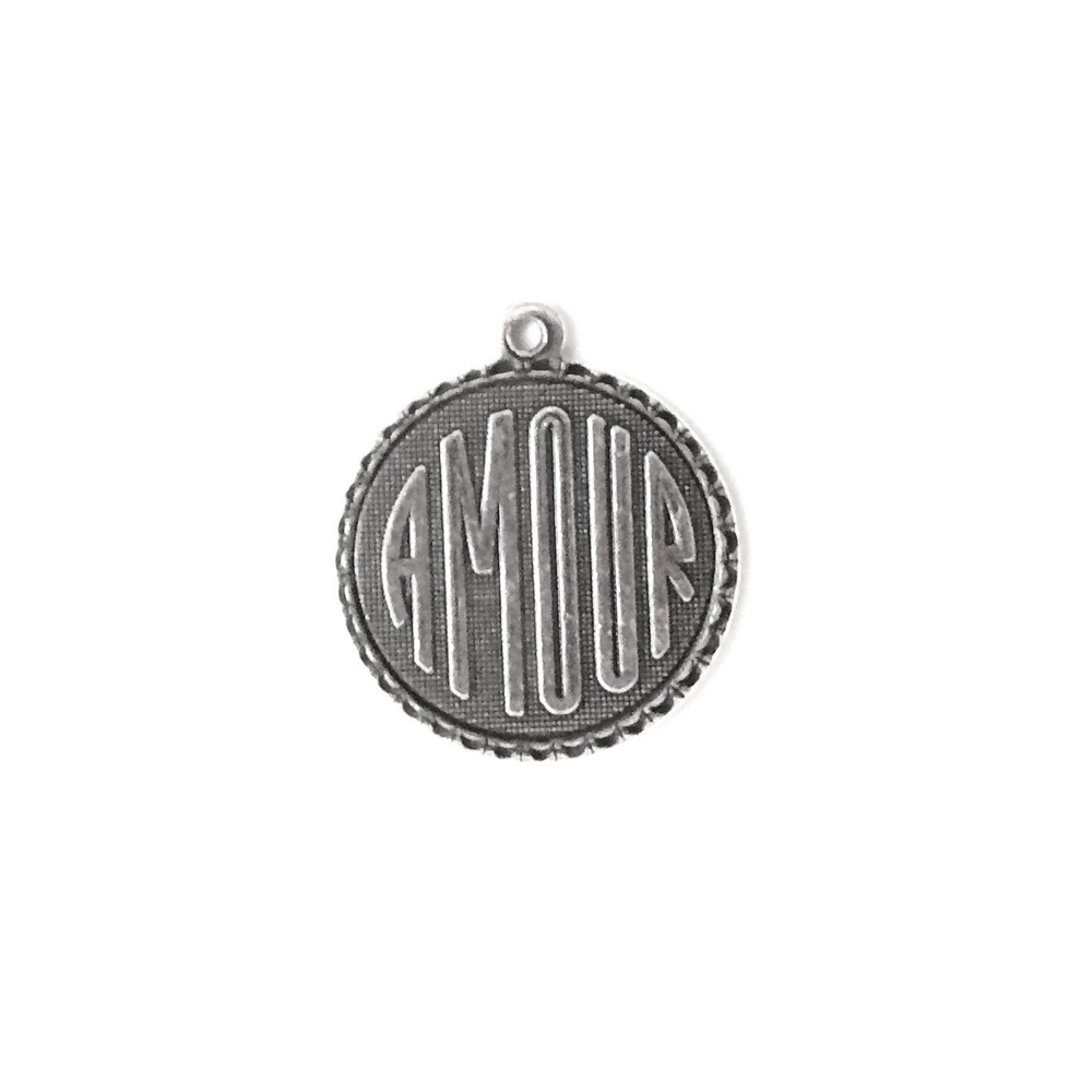 French charms, Amour charms, silver plate, 02484, silverware silver plate, antique silver, vintage jewelry supplies, jewelry making supplies, US made, Bsue Boutiques, charms, pendants