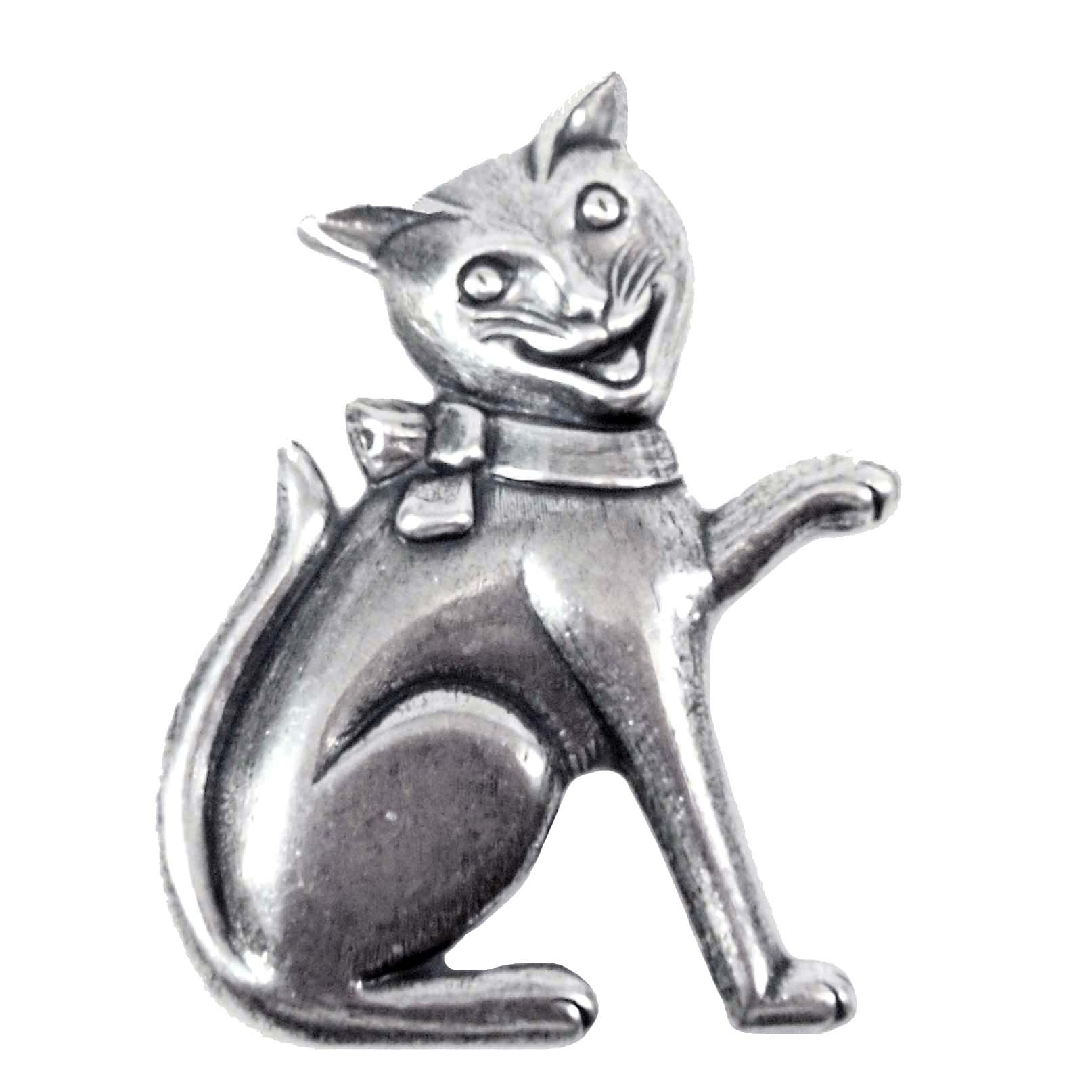 Brass Stampings, Cat Stampings, Happy Kitty, Silverware Silverplate, 51mm