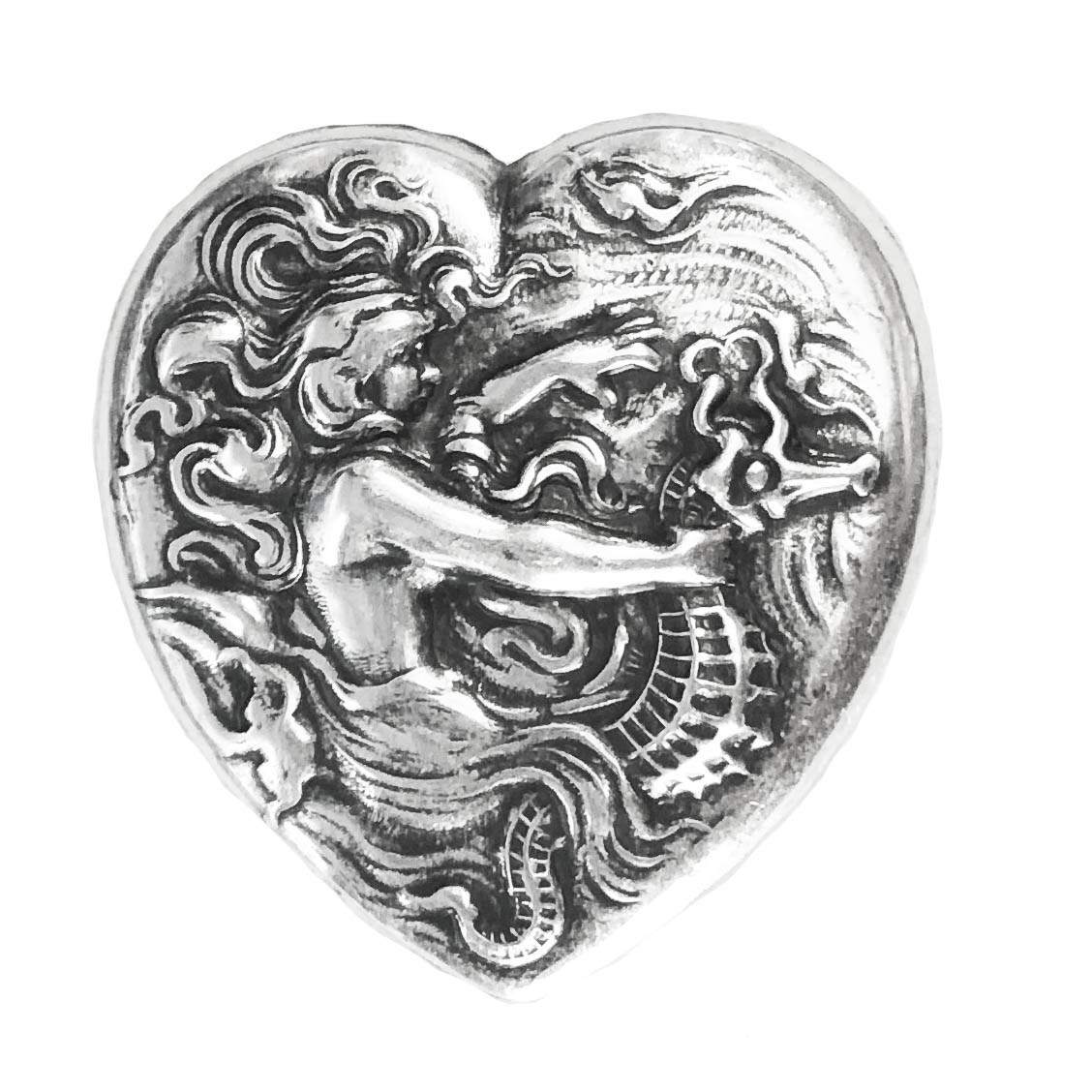 mermaid on seahorse, mermaid, silverplate, heart stamping, heart, seahorse, silverware, silverplate silverware, 39x38mm, antique silver, us made, nickel free, B'sue Boutiques, jewelry making, vintage supplies, jewelry supplies, jewelry findings, 03020