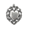 lacy edged heart, pendent, silverplate, heart stamping, lacy edged, charm, silverware, silverplate silverware, 32mm, antique silver, us made, nickel free, B'sue Boutiques, jewelry making, vintage supplies, jewelry supplies, jewelry findings, 03060