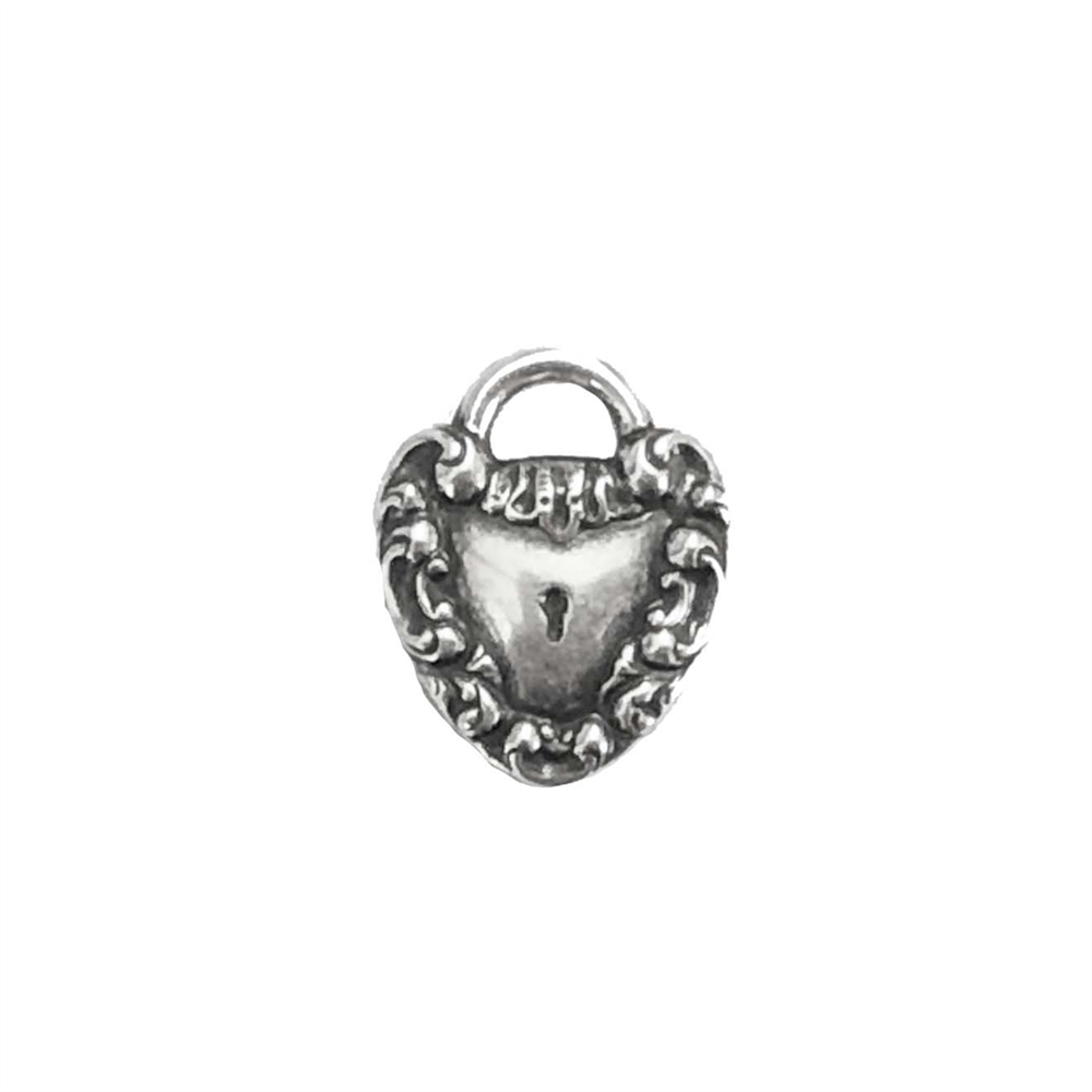 silverplate heart charm, heart. charm, silverware, silverplate, locket, key, heart charm, stamping, silver, victorian, victorian heart, lock motif, brass hearts, 20mm, us made, nickel free, jewelry findings, jewelry making, vintage supplies, 03064