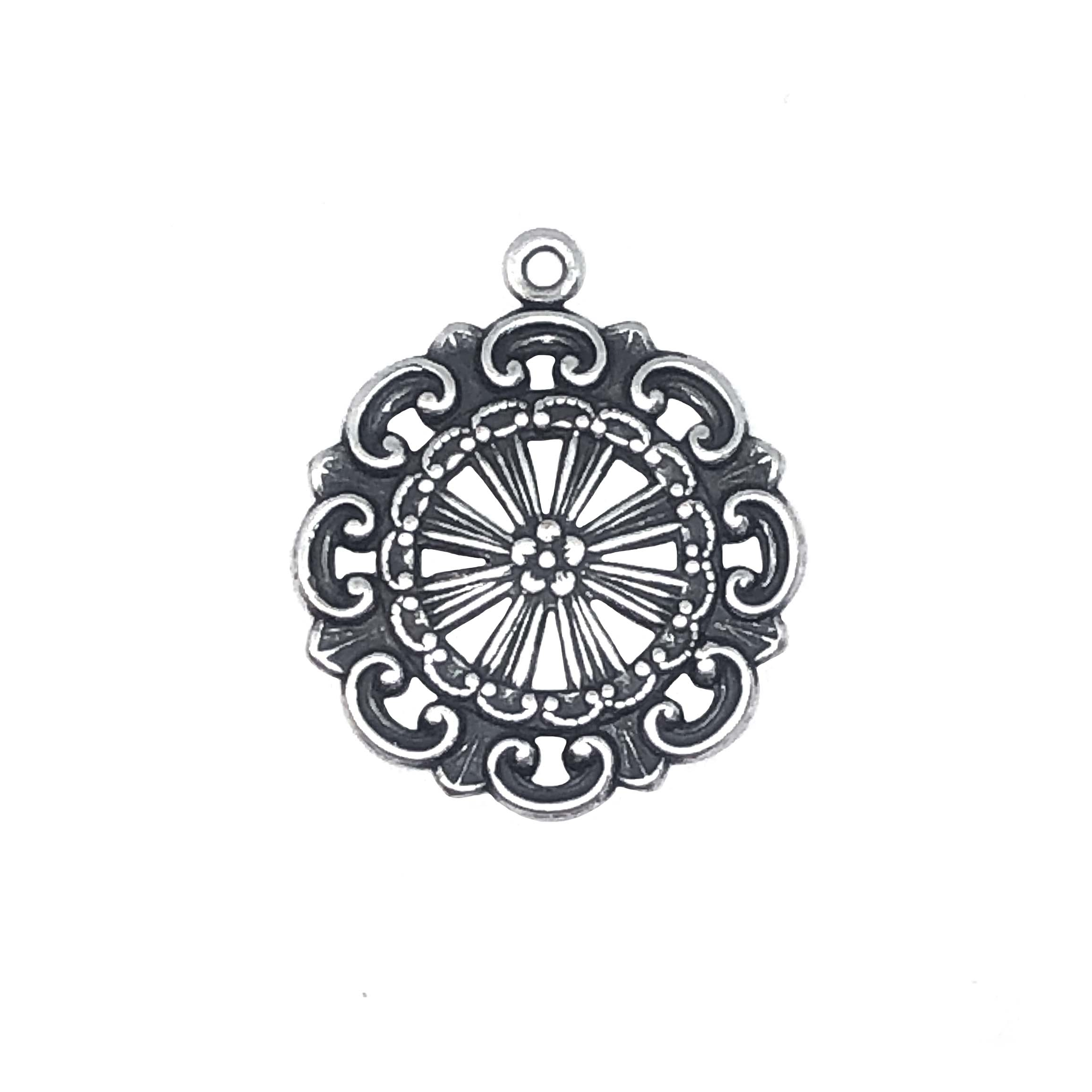 wheel charm, silverware silverplate, 03412, pendant, wheel, silverplated brass, ornate wheel pendant, black antiquing, 24mm, B'sue Boutiques, silver