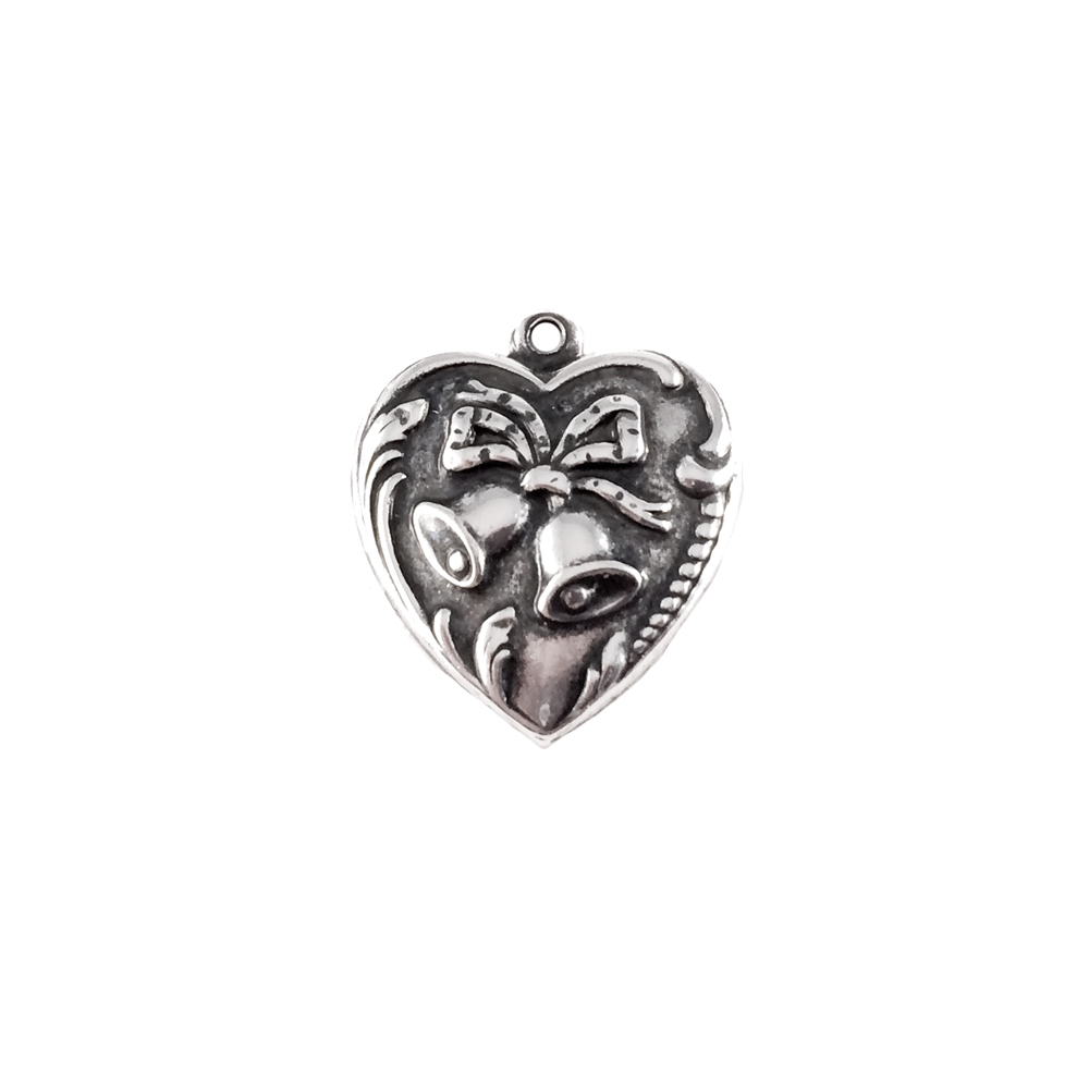 wedding bells heart charm, art nouveau, antique silver, heart charm, brass base plated, 18mm, nickel free, US made, jewelry findings, B'sue Boutiques, charm,  pendent, brass stamping, 0342, silverware silverplate