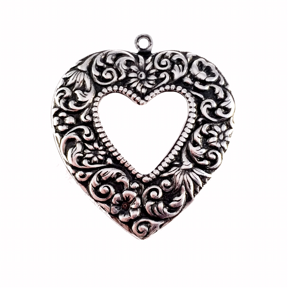 brass hearts, heart charms, jewelry making, 0343, B'sue Boutiques, nickel free, US made, jewelry making, jewelry supplies, vintage jewelry supplies, open heart stamping, heart pendants, floral heart charms, antique silver, silverware silverplate