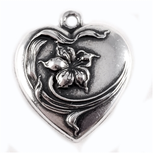 flower heart charm, art nouveau, antique silver, heart charm, brass base plated, 24mm, nickel free, US made, jewelry findings, B'sue Boutiques, charm, heart, flower, pendent, locket, brass stamping, heart flower, flower heart, 0344, silverware silverplate
