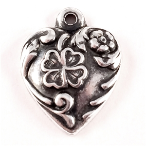 shamrock heart charm, art nouveau, antique silver, heart charm, brass base plated, 13mm, nickel free, US made, jewelry findings, B'sue Boutiques, charm, heart, flower, pendent, locket, brass stamping, flower heart, 0345, silverware silverplate