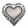 silver heart pendant, 36mm, 03505, silverware silverplate, heart, pendant, B'sue Boutiques, jewelry supplies, jewelry making, charm, hearts, mount, resin, Ceralun, decoupage