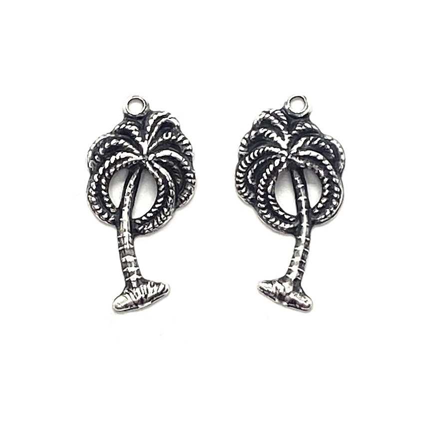 brass charm, palm tree charms, jewelry making, 03511, silverware silverplate,  brass jewelry parts, vintage jewelry supplies, beach jewelry, US made jewelry, nickel free jewelry, B'sue Boutiques, beach, ocean, tropical