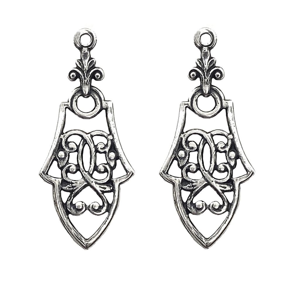 victorian style ear drop, silverware silverplate, ear drops, ear finding, filigree, 36x15mm, silver earrings, US made, nickel-free, B'sue Boutiques, jewelry making, vintage supplies, jewelry supplies, jewelry findings, 03515