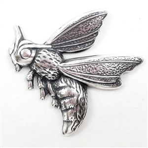 Brass Bee, Flying Bee, Antique Silver, 28 x 30mm