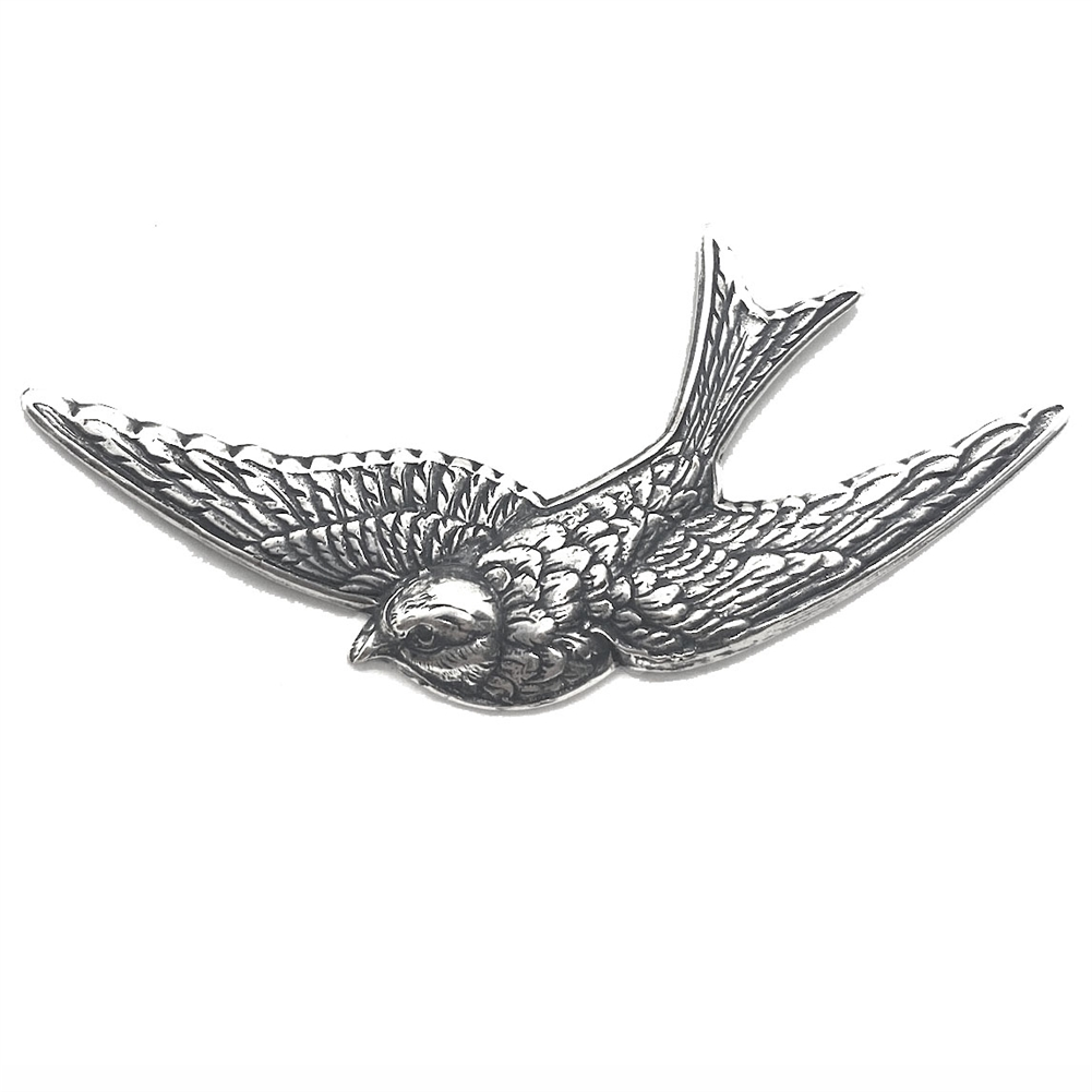 bird stampings, antique silver, 39 x 81mm, 03868, silverware silverplate, silver bird, flying bird, bird stamping, brass bird, B'sue Boutiques, jewelry supplies