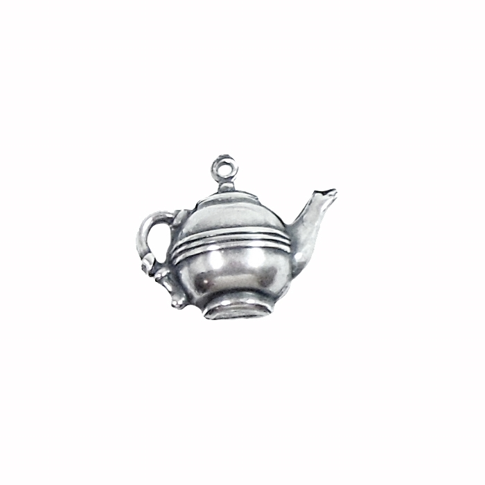 brass teapot, teapot charms, silver plate, 03968, silverware silver plate, antique silver, vintage jewelry supplies, jewelry making supplies, puffy charms, brass jewelry parts, US made, nickel free, Bsue Boutiques