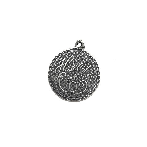 Happy Anniversary charm or pendant, 04318, silverware silverplate, silver charm, pendant, B'sue Boutiques, jewelry supplies