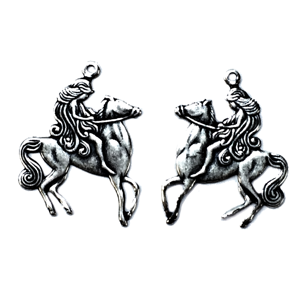 lady Godiva charm, silverware silver plate, brass stamping, charms, pendent, charm accents, 25 x 19mm, pairs, 2 pieces, lady on horse, horse, lady, us made, nickel free, jewelry findings, B'sue Boutiques, vintage supplies, antique silver, brass, 04612