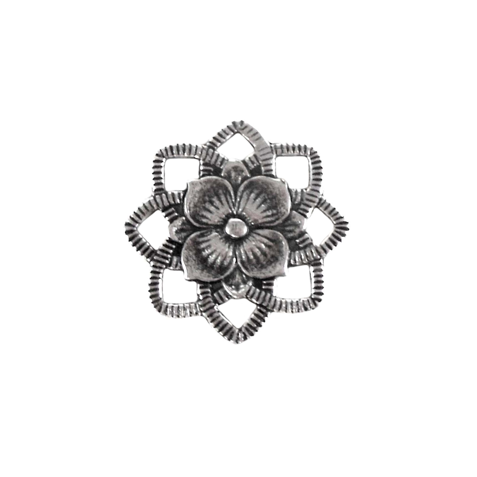 brass flowers, jewelry connectors, jewelry making,04758, antique silver, silverware silver plate, silver plate, vintage jewelry supplies, beading supplies, brass jewelry parts, US made, nickel free, Bsue Boutiques