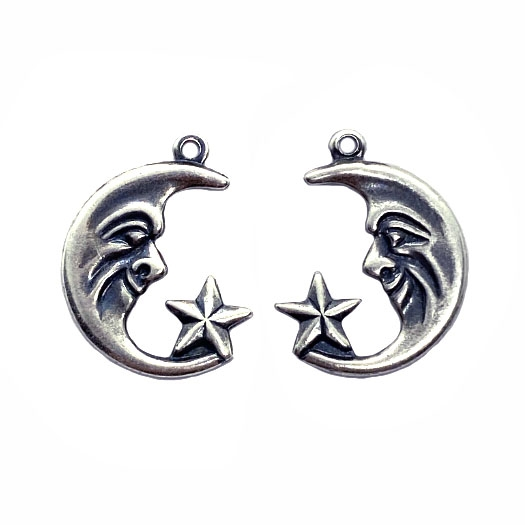 crescent moon, man in the moon, 04867, right and left, pair, embellishments, moon, lunar, sky, moon faces, silverware silverplate, B'sue Boutiques, jewelry supplies, moon and star charms, charm, pair, earrings