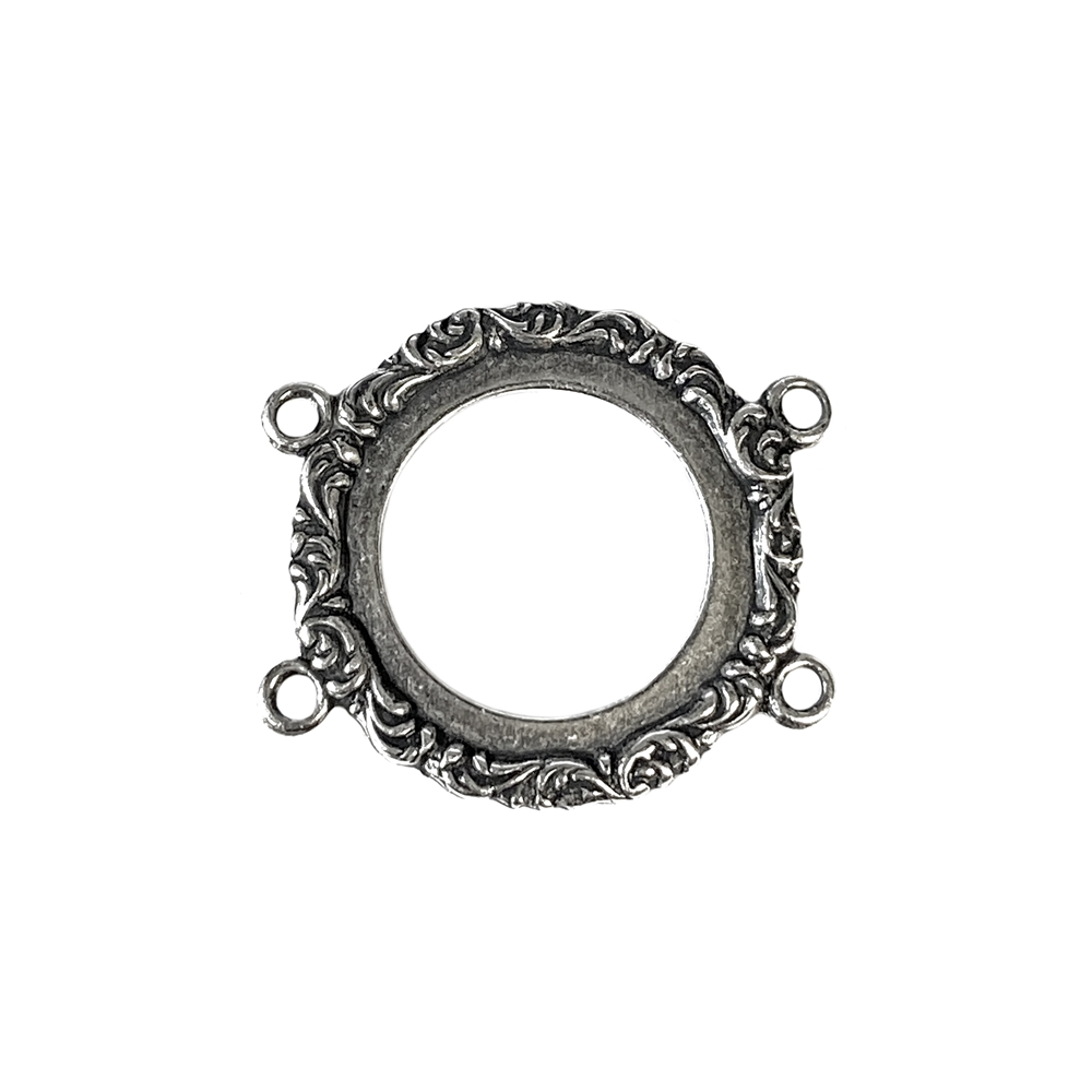 floral circlet bracelet connector, silverware silverplate, silver, antique silver, bracelet connector, connector, jewelry connector, floral connector, four hole design, bracelet, jewelry making, jewelry supplies, floral circlet, vintage supplies, 05020