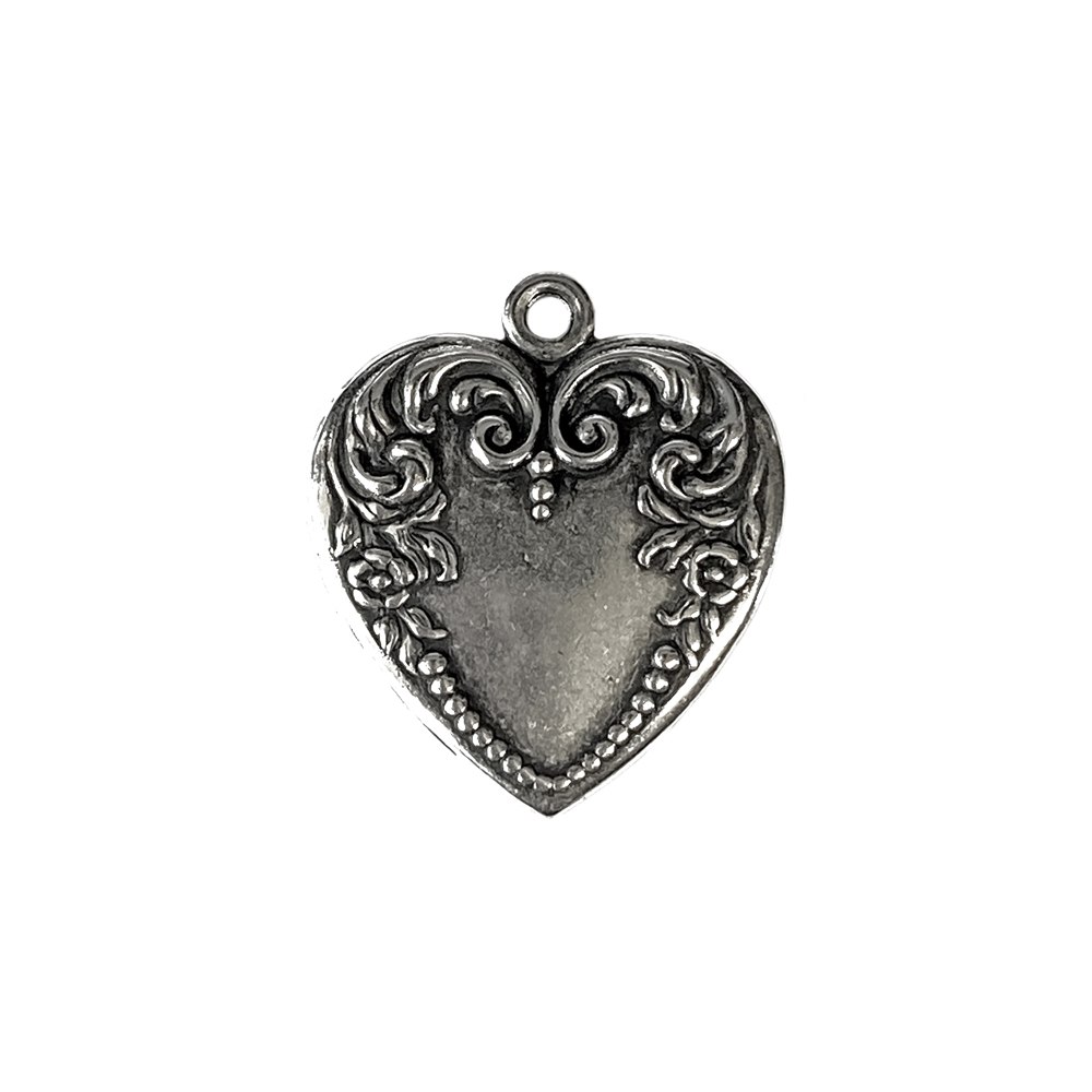 floral style heart pendant, heart, charm, pendant, silverware silverplate, antique silver, heart charm, heart pendant, floral heart, floral charm, jewelry heart pendant, vintage style heart, jewelry making, vintage supplies, jewelry supplies,26x23mm,05027