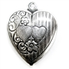 brass hearts, heart charms, antique silver 05122, B'sue Boutiques, nickel free, US Made, vintage jewellery supplies, brass jewelry supplies, brass jewelry parts, brass findings, puffy hearts, heart pendants, black antiquing, silverware silverplate