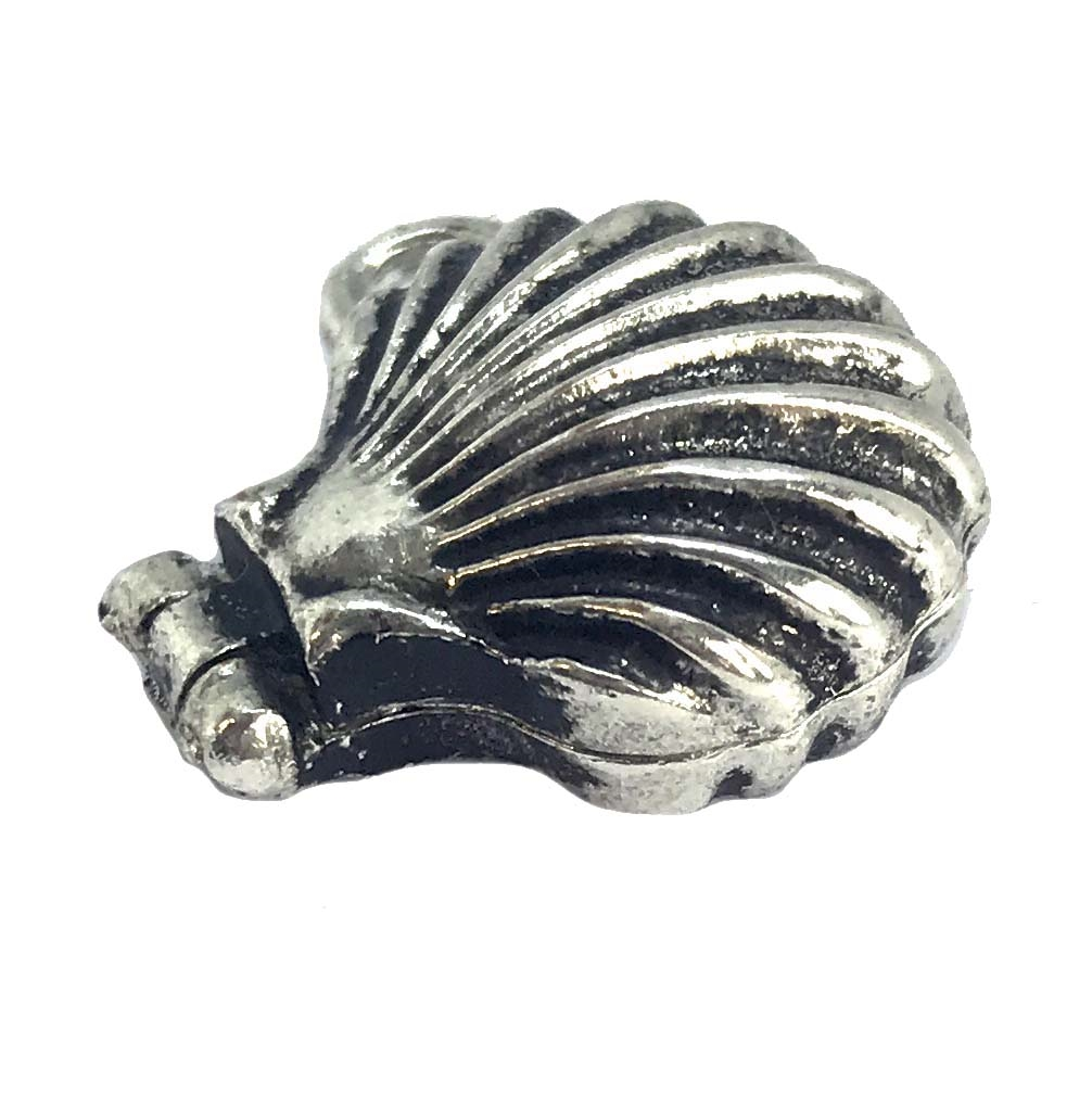 shell locket, antique silver, silverware silverplate, silver, locket, shell, charm, pendant, shell locket pendant, pendant locket, 18x20mm, magnetic closure, jewelry making, jewelry supplies, vintage supplies, B'sue Boutiques, US made, nickel free, 06010