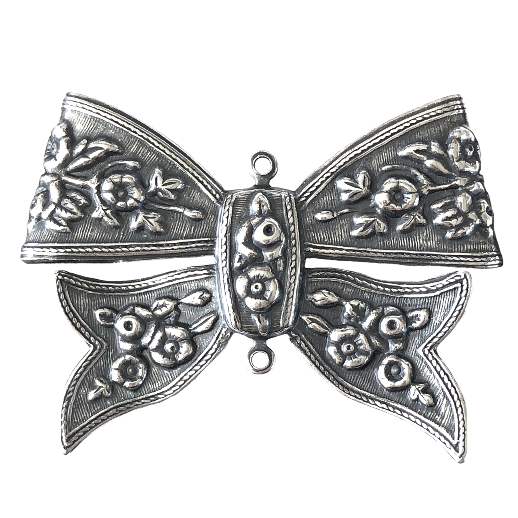 floral design bow, antique silver, connector, folded over, floral design, bow, silver bow, jewelry connector, silverware silverplate, 33x47mm, floral, two connectors, floral bow, centerpiece bow, jewelry making, jewelry supplies, vintage supplies, 06224