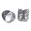 silverware silverplate, band ring, 06252, ring, silver ring, silver, floral ring, flowers, filigree ring, cigar band ring