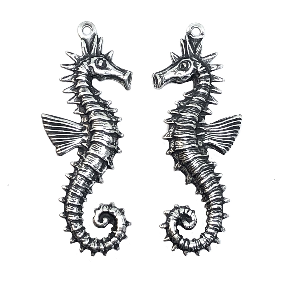 seahorses, beach, silverware silverplate, 0648, B'sue Boutiques, nickel free jewelry, US made jewelry, vintage jewelry supplies, jewelry making supplies, plated brass charms, beach charms, seahorse pairs, antique silver
