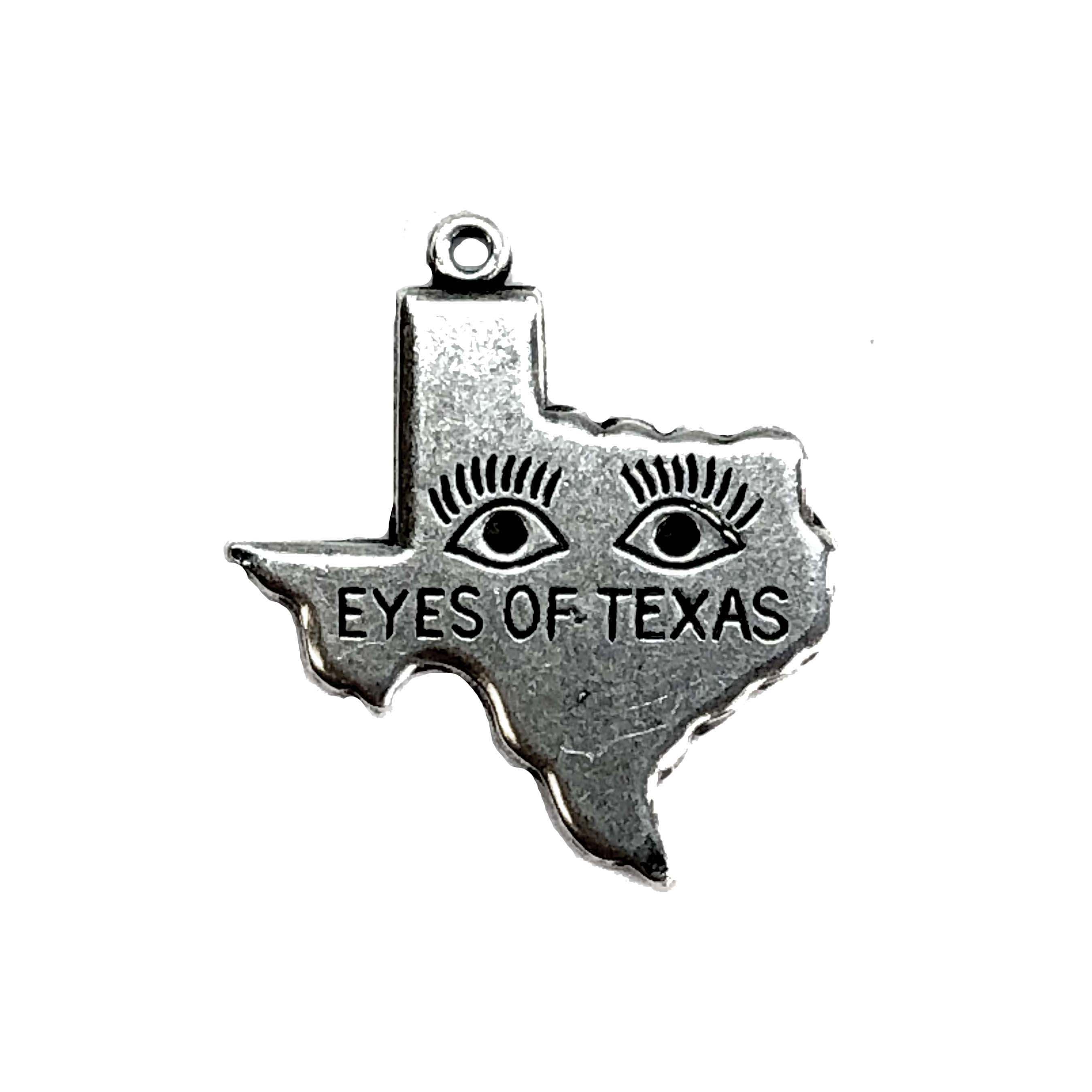 eyes of texas, charm, pendant, 06909, silverware silverplate, state charm, Texas, state pendant, geography, United States, Bsue Boutiques, jewelry making, jewelry supplies