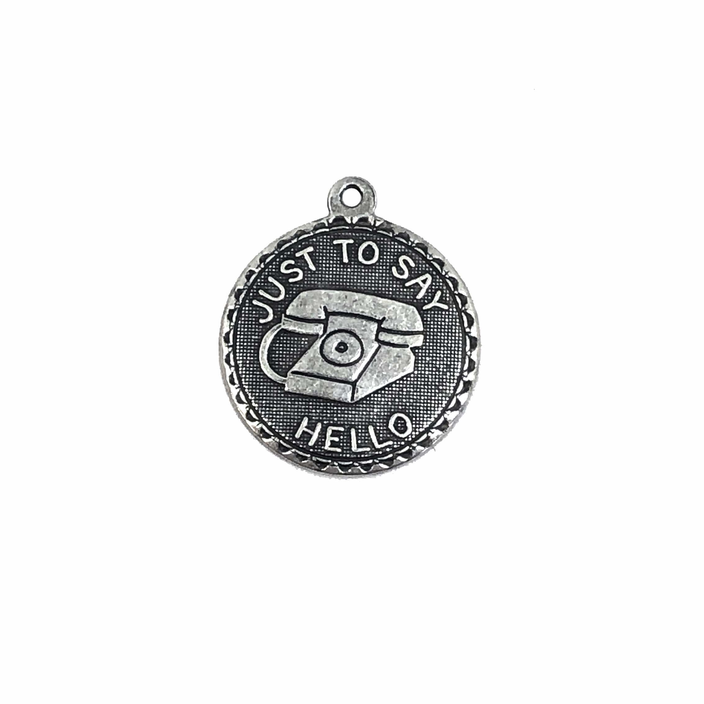 telephone charm, silverware silverplate, 06945, phone, silver charm, phone charm, old style phone, just to say hello, jewelry supplies