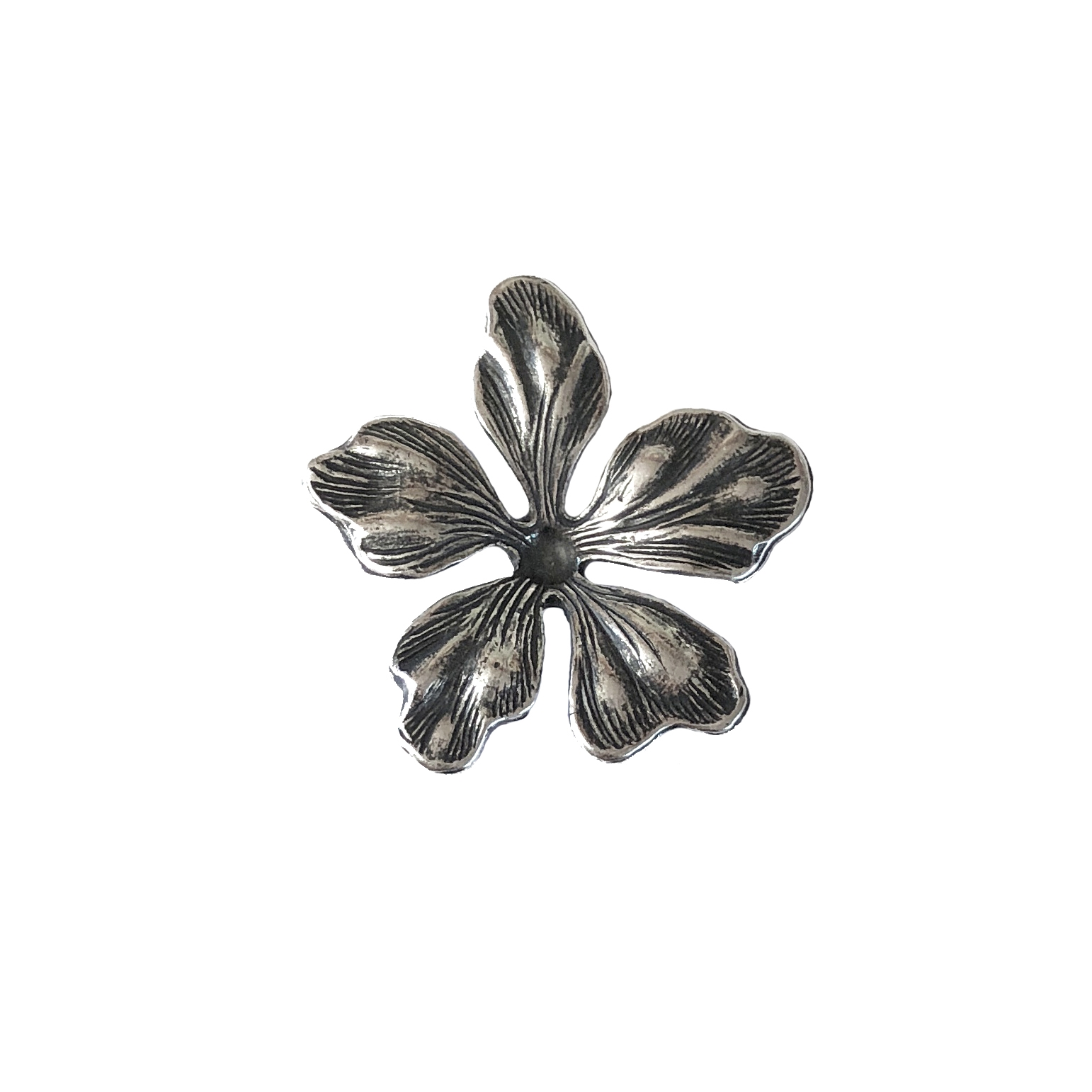 dogwood flower, 0697, silverware silverplate, flowers, 23mm, brass plated flower, dimensional flower, Bsue Boutiques, jewelry making, jewelry supplies
