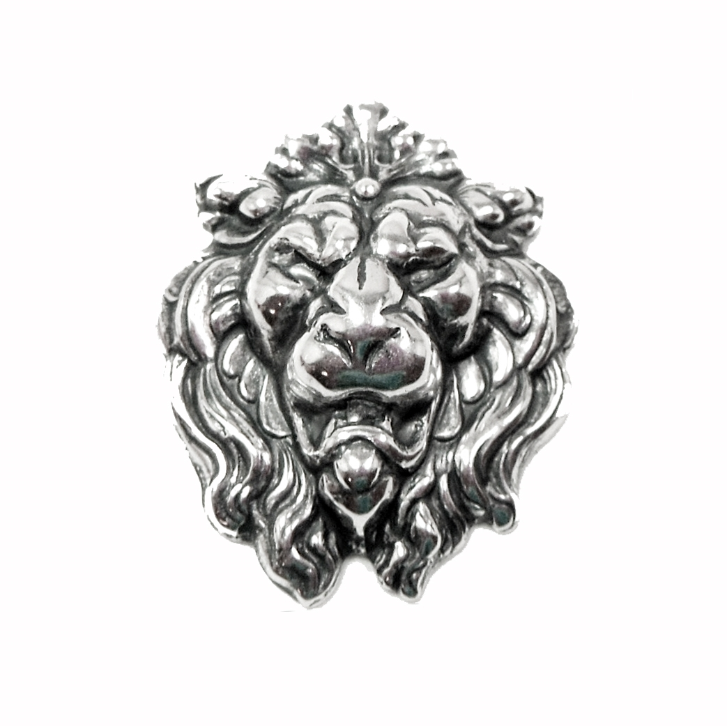 brass lion head, roaring lions, silver plate,0700, silverware silver plate, antique silver, vintage jewelry supplies, jewelry making supplies, US made, Bsue Boutiques