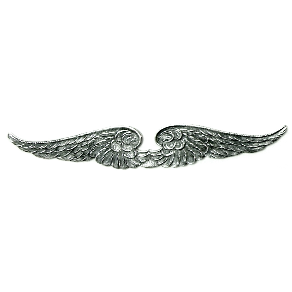 steampunk double wing, silverware silverplate, silver wing, antique silver, steampunk wing, wing, bird wings, steampunk art, stamping, wing stamping, 92mm across, vintage supplies, jewelry supplies, jewelry making, nickel-free, US-made, 0703