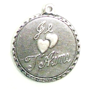 french charm, i love you, charm, pendent, silverplate, i love you in french, silverware, silverplate silverware, 19mm, antique silver, us made, nickel free, B'sue Boutiques, jewelry making, vintage supplies, jewelry supplies, jewelry findings, 0707