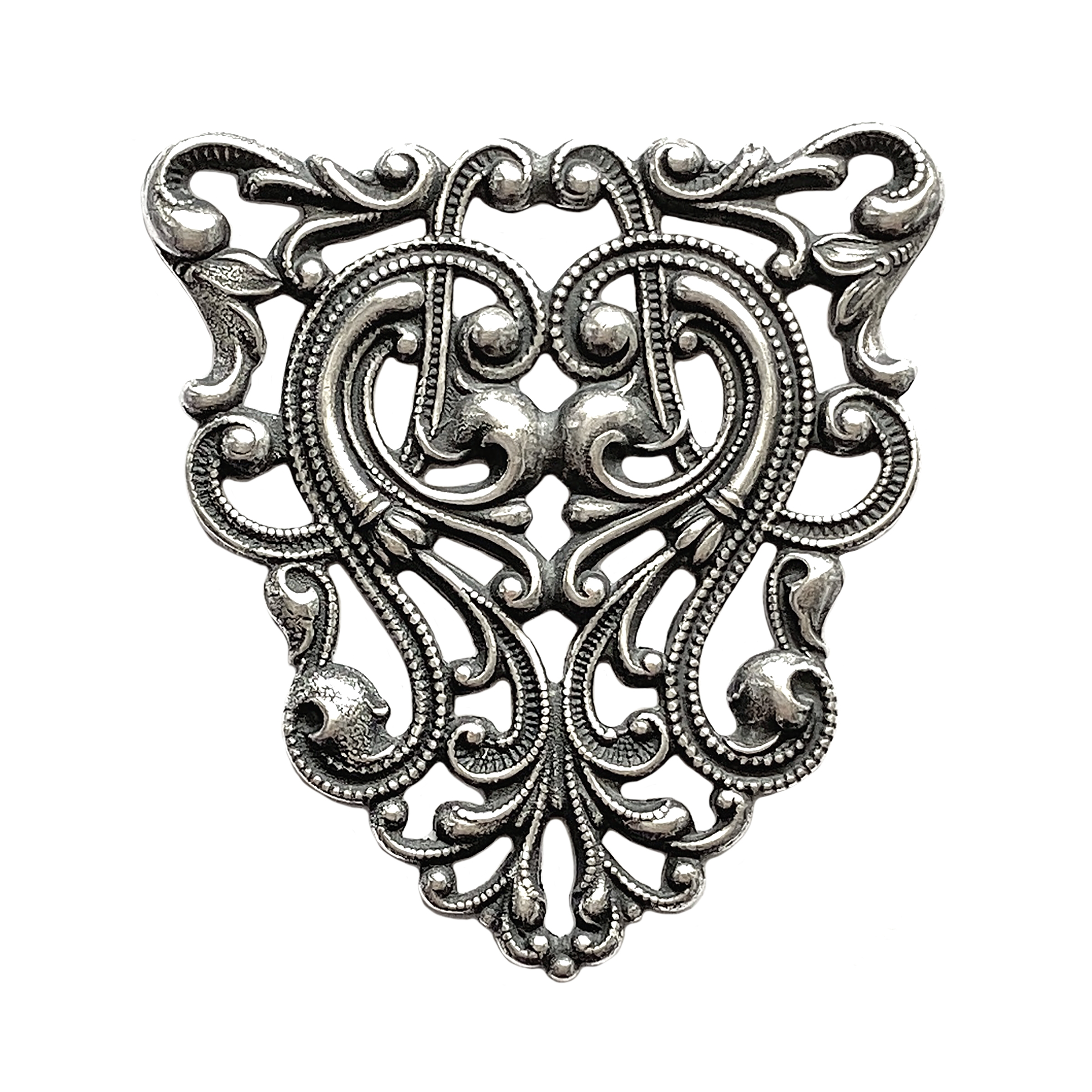 brass filigree, brass stampings, beading filigree, 0714, silverware silver plate, antique silver, silver plate, Art Nouveau Style, US made, nickel free, Bsue Boutiques, vintage jewelry supplies, brass jewelry parts