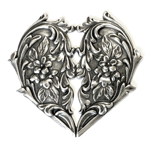 brass hearts, floral hearts, Victorian jewelry, silverware silver plate, antique silver, black antiquing, vintage jewelry supplies, heart pendant, jewelry making supplies, US made, nickel free, bsueboutiques, 07655