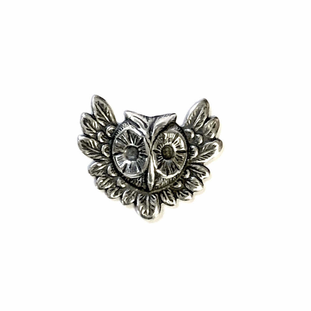 Feathery Owl, Brass Ox, Antique Silver, Owl, 07665, silverware silverplate, bird, birds, owls, animals