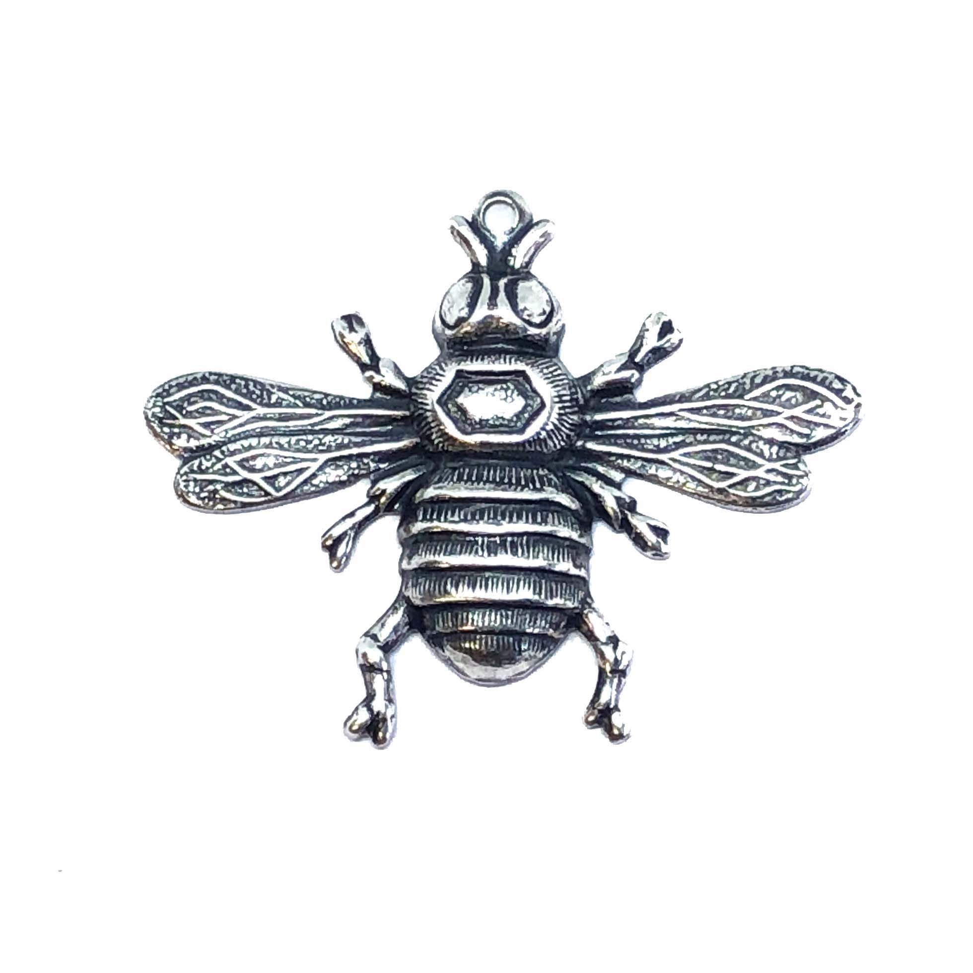 brass bees, bee stampings, silwar, 08199, antique silver, silverware silver plate, bee jewelry, jewelry making supplies, vintage jewelry supplies, insects, brass insects, US made, nickel free, bsueboutiques