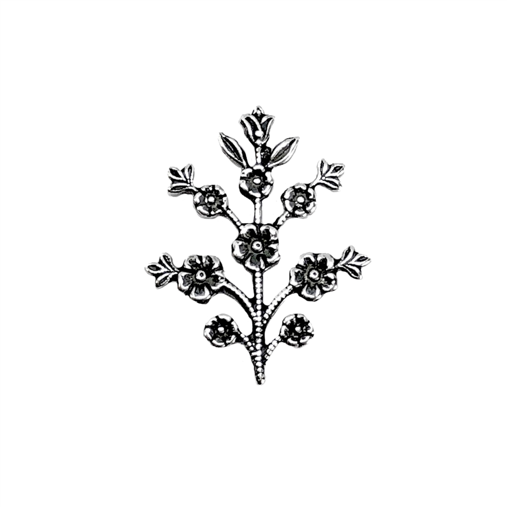 floral sprig, silver plate, silverware silverplate, antique silver, B'sue Boutiques, nickel free, US made, jewelry supplies, vintage supplies, flower stem, flower sprig, flower, silver, stem, jewelry making, jewelry findings, 08371
