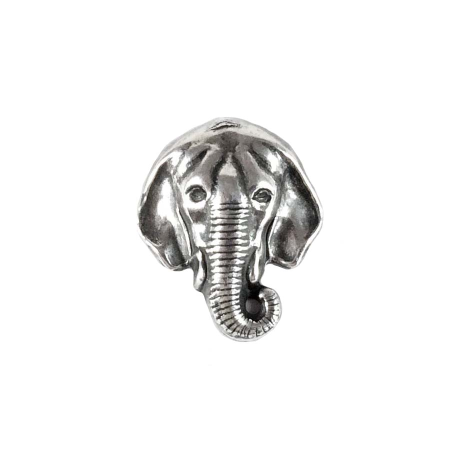 elephant head, silverware, silverplate, animal, zoo animal, elephant, head stamping, stamping, hollow back, 20 x17mm, silver, head, us made, nickel free, b'sue boutiques, jewelry findings, vintage supplies, jewelry supplies, jewelry making, 08377