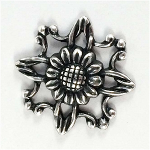 brass flowers, sunflowers, silver plate, 08378, silverware silverplate, black antiquing, nickel free jewelry supplies, US made jewelry supplies, vintage jewellery supplies, jewelry findings,