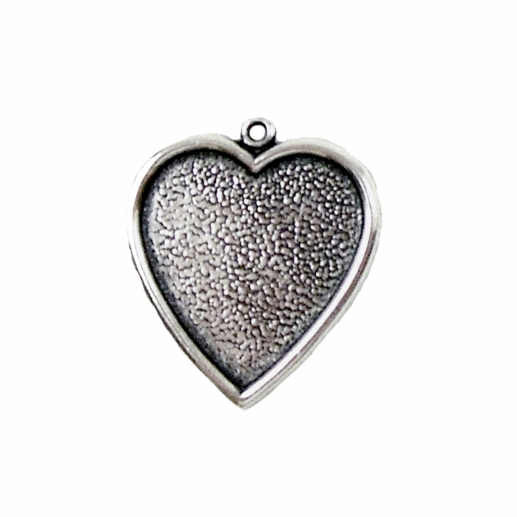 Brass Heart Charm, Inlay Heart, Silverware Silverplate, 25 x 24mm