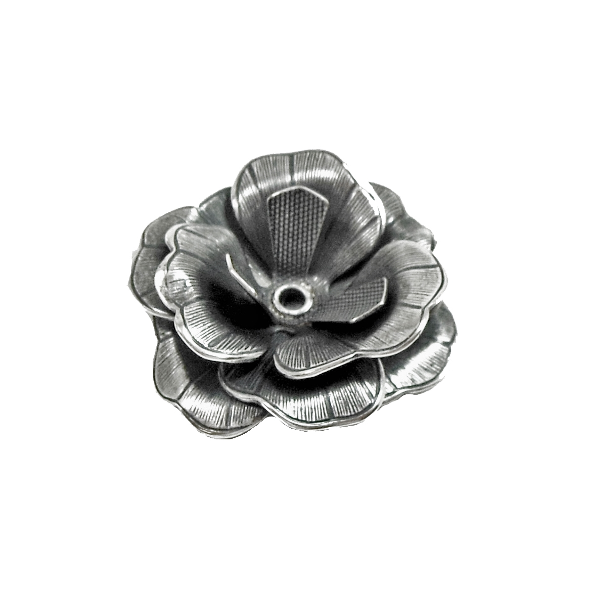 tea rose, 09111, silverware silverplate, layered flower, flowers, brass flower, plated flower, Bsue Boutiques, jewelry making, jewelry supplies, 24mm, rose, dimensional flower, silver flower, silver rose
