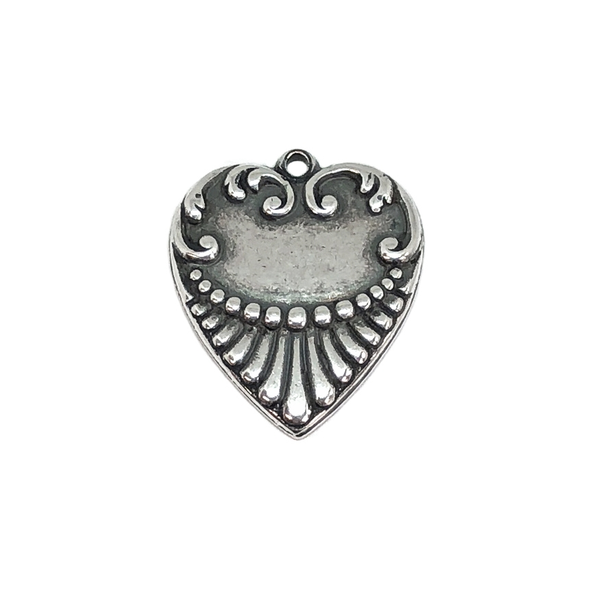 ribbed design heart, silverware silverplate, heart, charm, ribbon, silver, silverplate, pendent, brass heart, heart charms, 21 x18mm, us made, nickel free, jewelry making, jewelry findings, vintage supplies, jewelry supplies, silver hearts, 09173